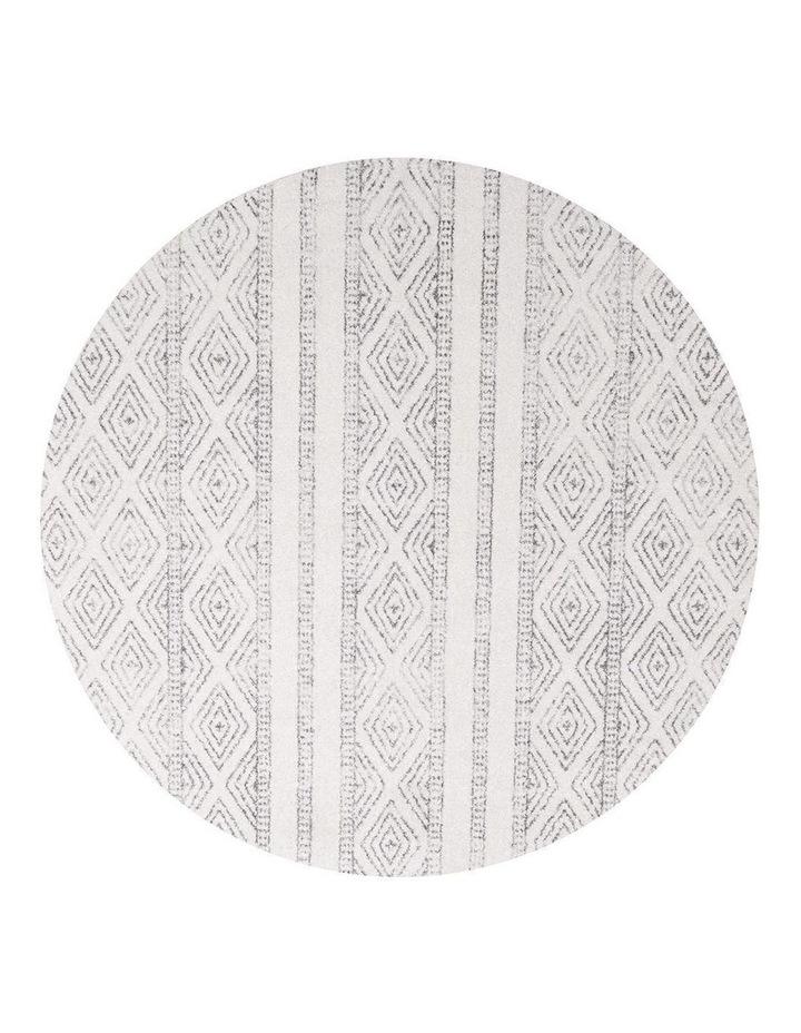 Oasis Salma White And Grey Tribal Round Rug image 1