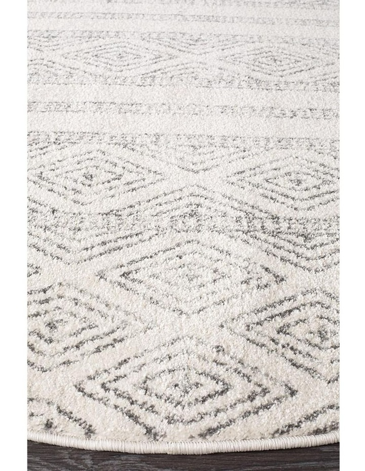 Oasis Salma White And Grey Tribal Round Rug image 2