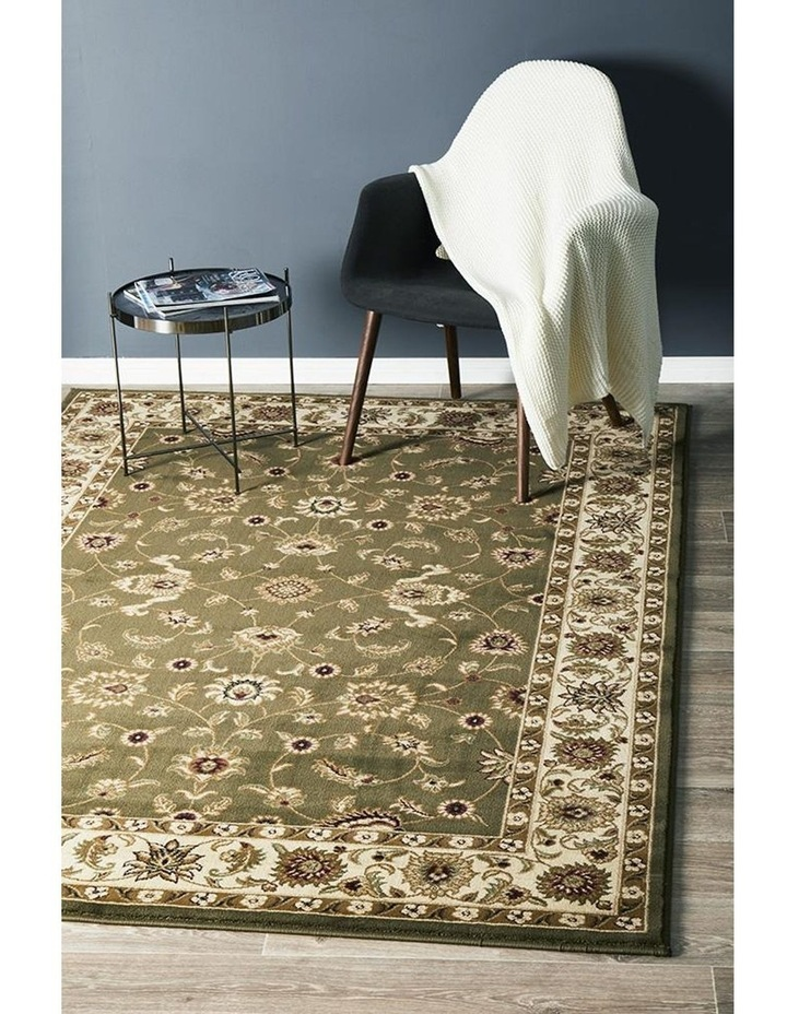 Sydney Collection Classic Rug Green with Ivory Border image 7