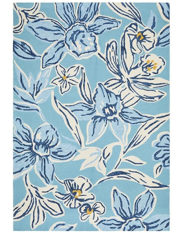 Copacabana Whimsical Blue Floral Indoor Outdoor Rug image 1
