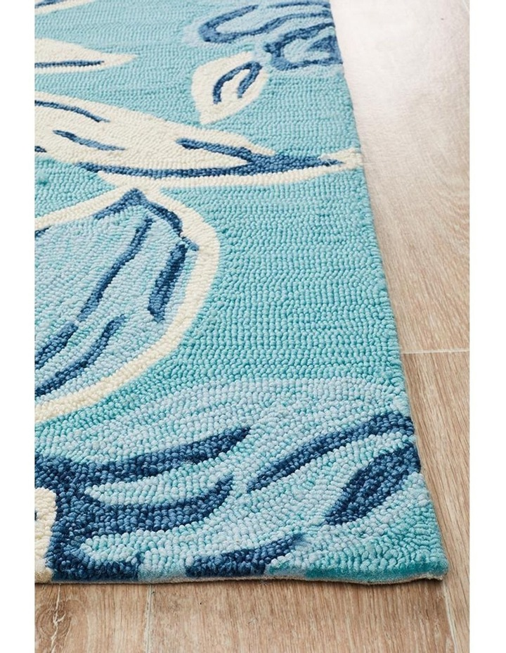Copacabana Whimsical Blue Floral Indoor Outdoor Rug image 3
