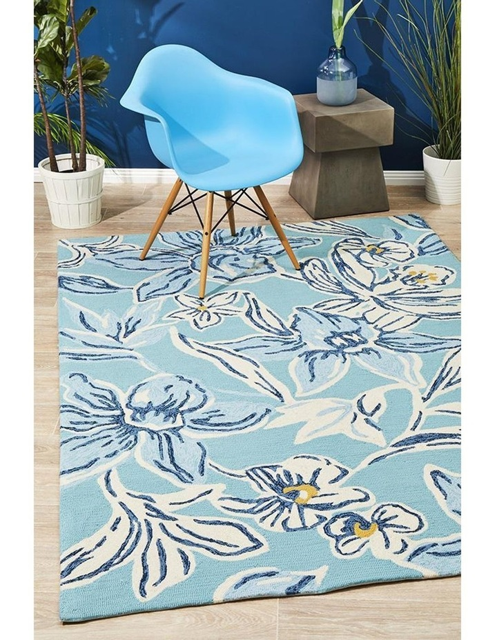 Copacabana Whimsical Blue Floral Indoor Outdoor Rug image 6