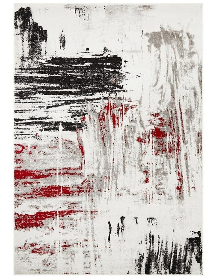 Lydia Abstract Rug Red Black White Grey image 1