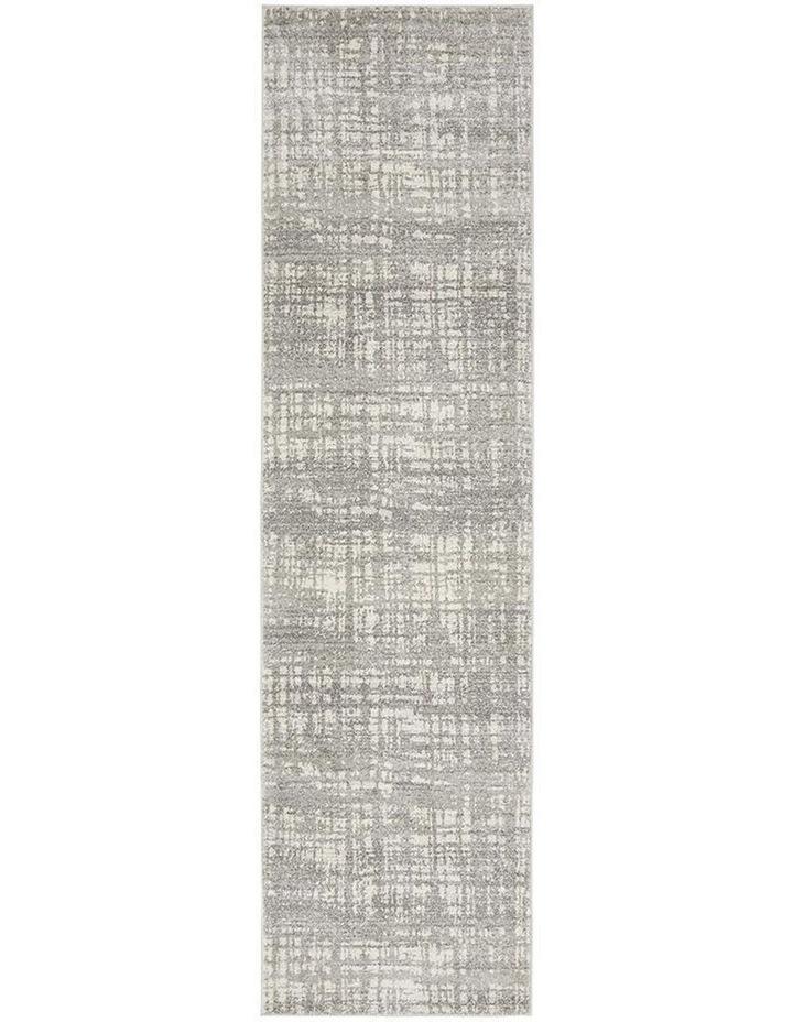 Mirage Ashley Abstract Modern Silver Grey Runner Rug image 1