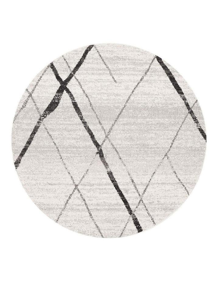Oasis Noah White Grey Contemporary Round Rug image 1