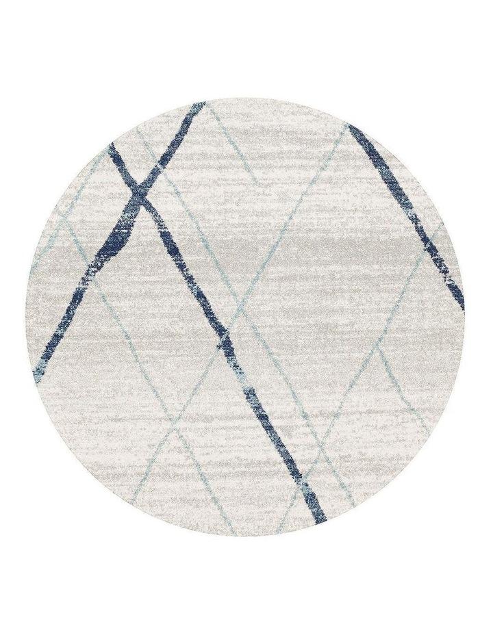 Oasis Noah White Blue Contemporary Round Rug image 1