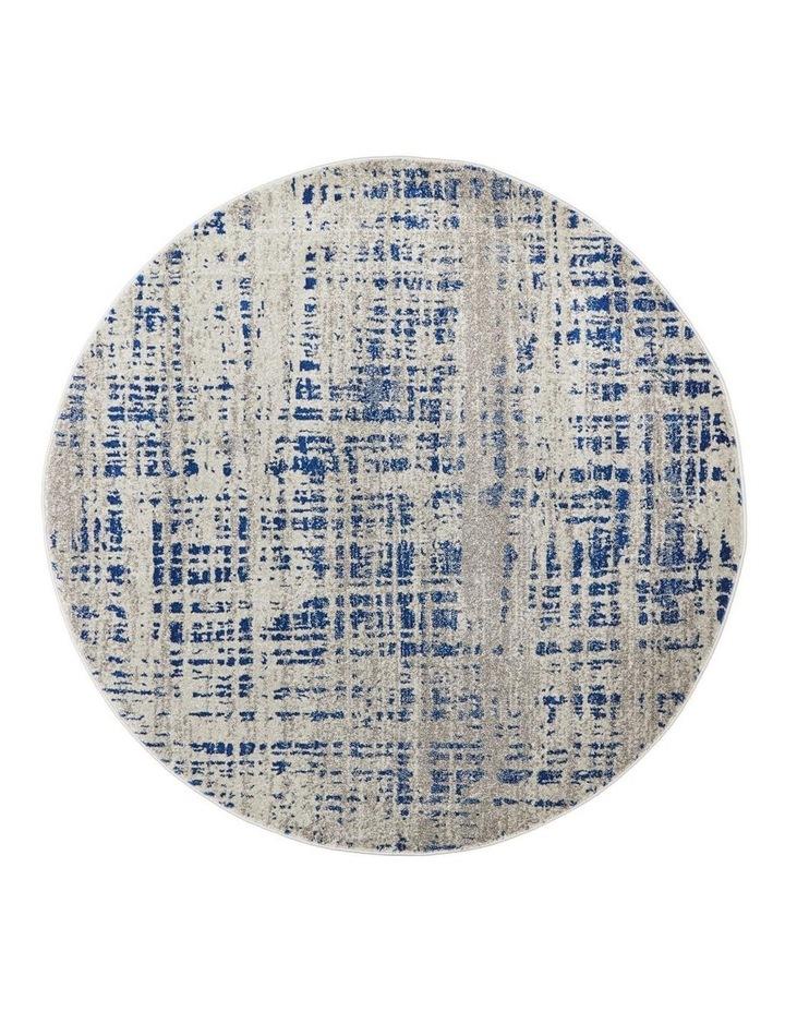 Mirage Ashley Abstract Modern Blue Grey Round Rug image 1