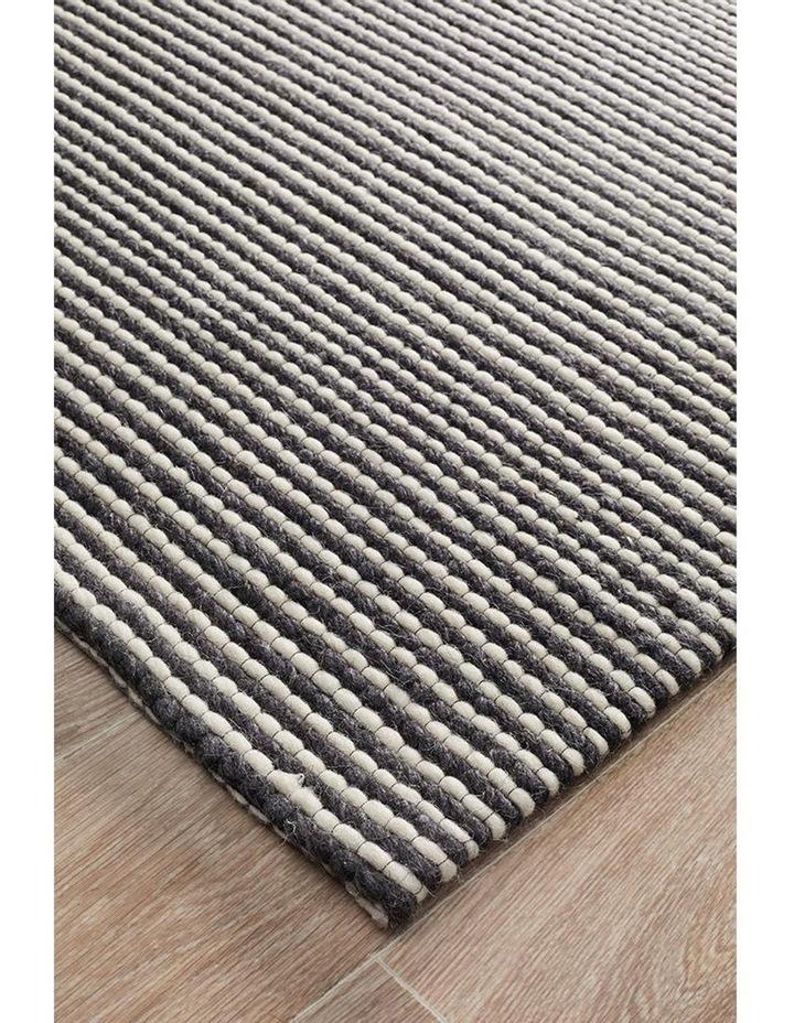 Studio Oskar Felted Wool Striped Rug Black White image 1