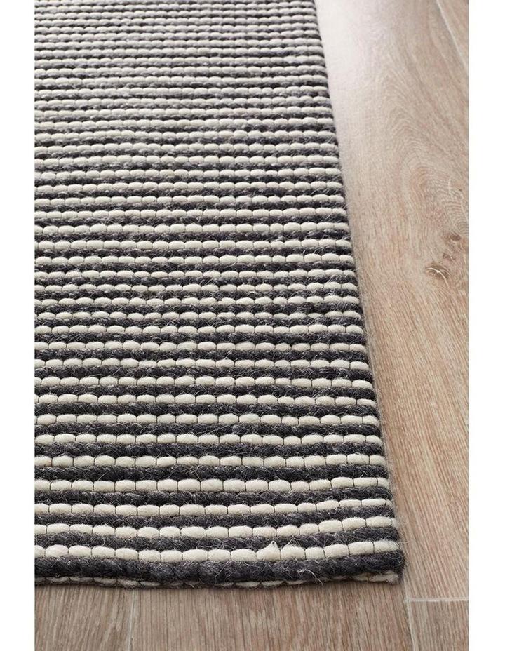 Studio Oskar Felted Wool Striped Rug Black White image 2