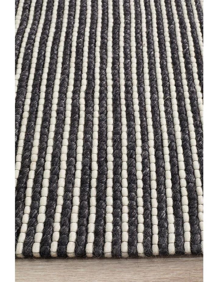 Studio Oskar Felted Wool Striped Rug Black White image 3