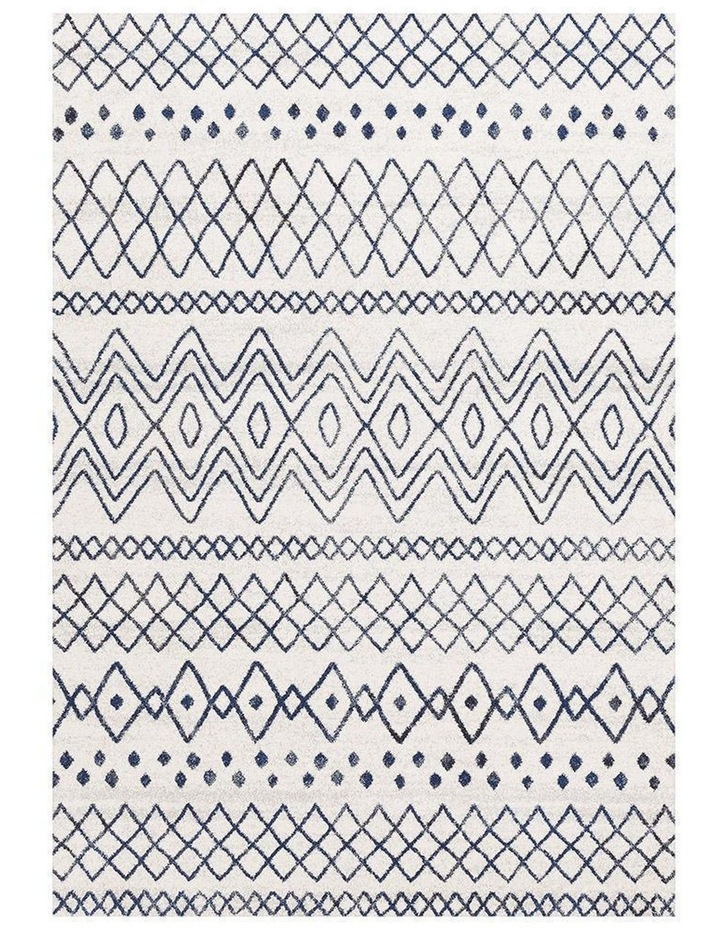 Oasis Nadia White Blue Rustic Tribal Rug image 1