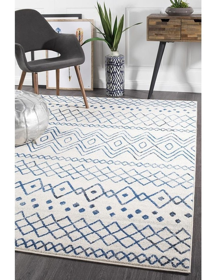 Oasis Nadia White Blue Rustic Tribal Rug image 5