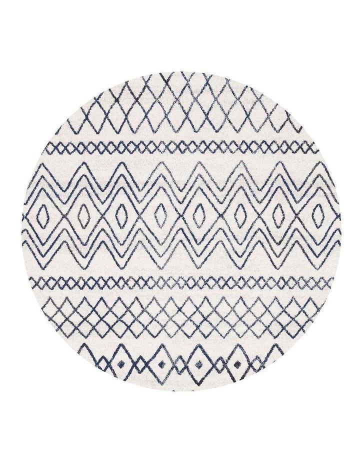 Oasis Nadia White Blue Rustic Tribal Round Rug image 1