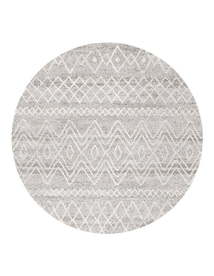 Oasis Nadia Grey Rustic Tribal Round Rug image 1