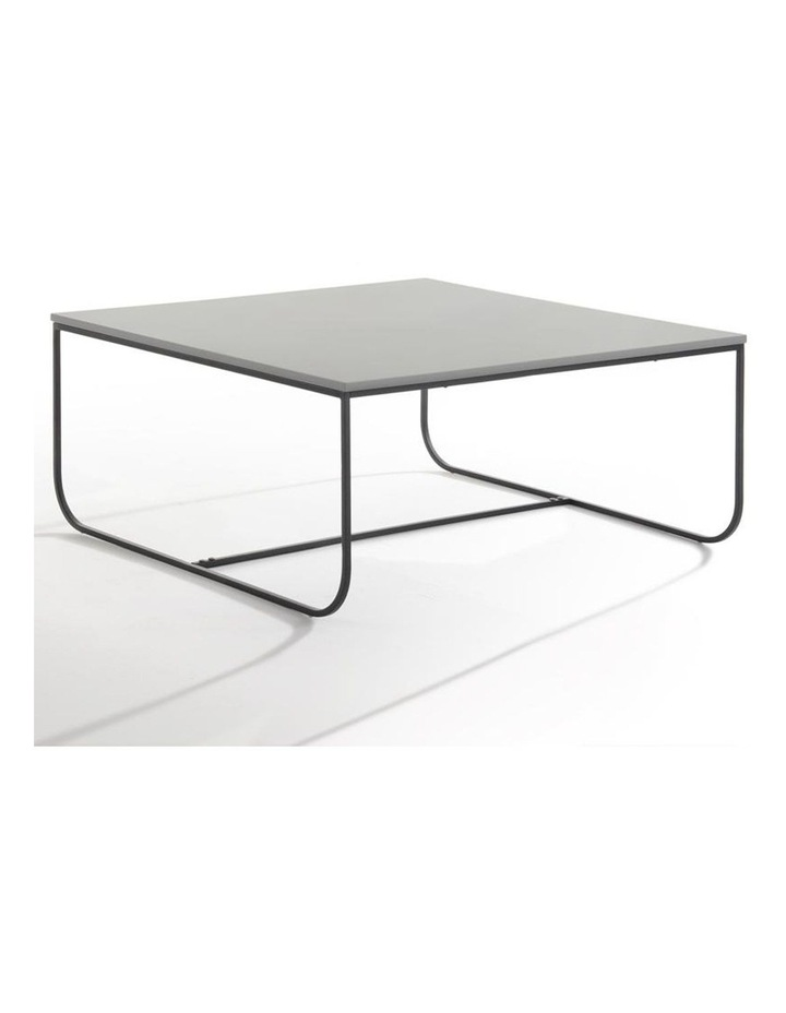 Marit Coffee Table - 90cm - Light Grey   Black Metal image 1