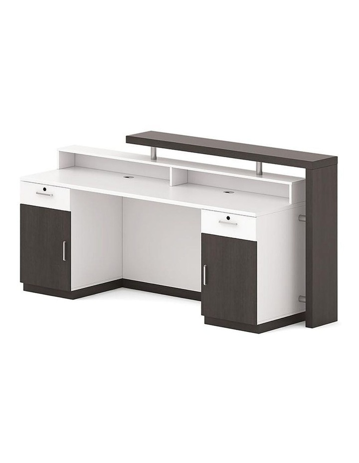 Jett Reception Desk  with Cabinets 1.8M - White & Black image 2