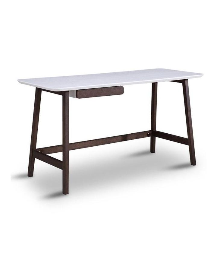 Katon Computer Desk - 140cm -  Matt White   Black Oak image 1