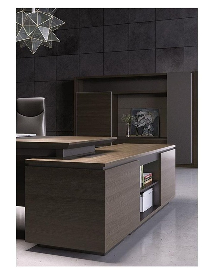 Carter Executive Office Desk with Right Return 2.2M - Coffee & Charcoal image 4