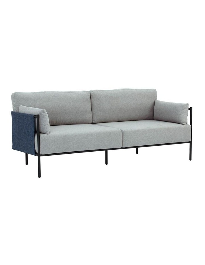 Tredia 3 Seater Sofa - Silver & Midnight Blue image 1