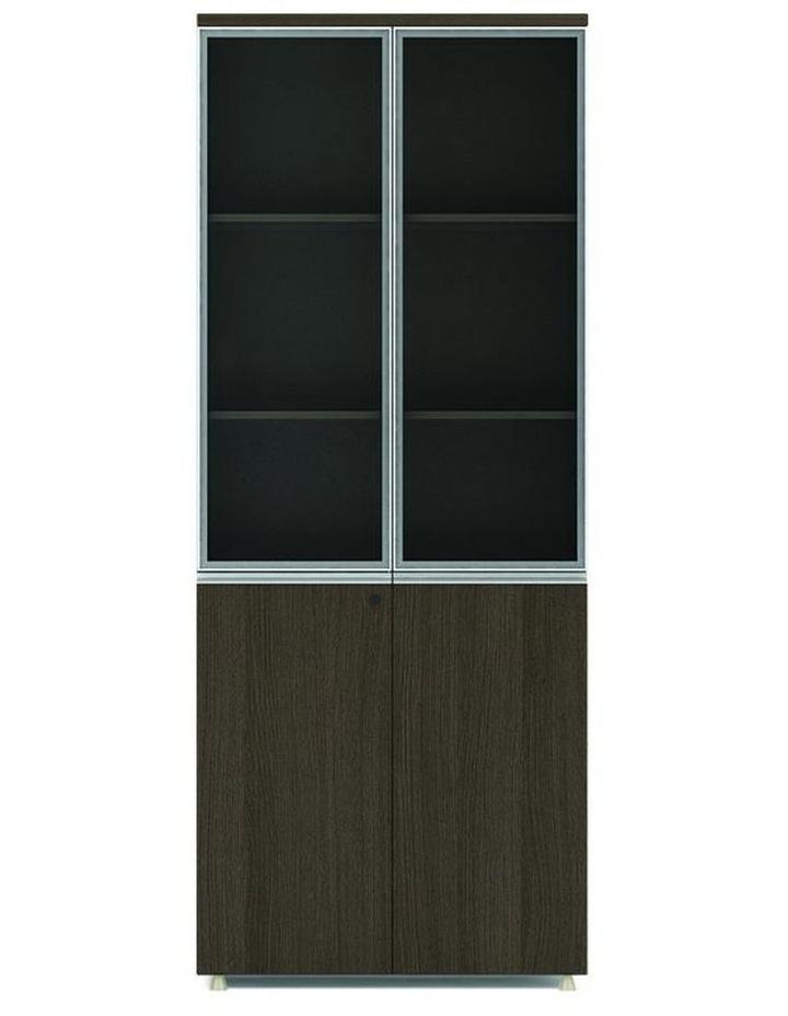 Carter Display Unit 2 Door Bookcase 80cm -  Coffee Grey image 1