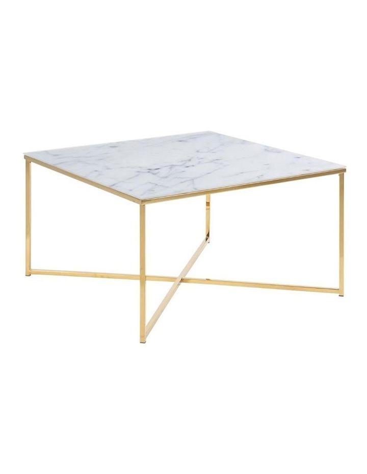 Kolina Glass Coffee Table 80cm - White & Golden Chrome image 1
