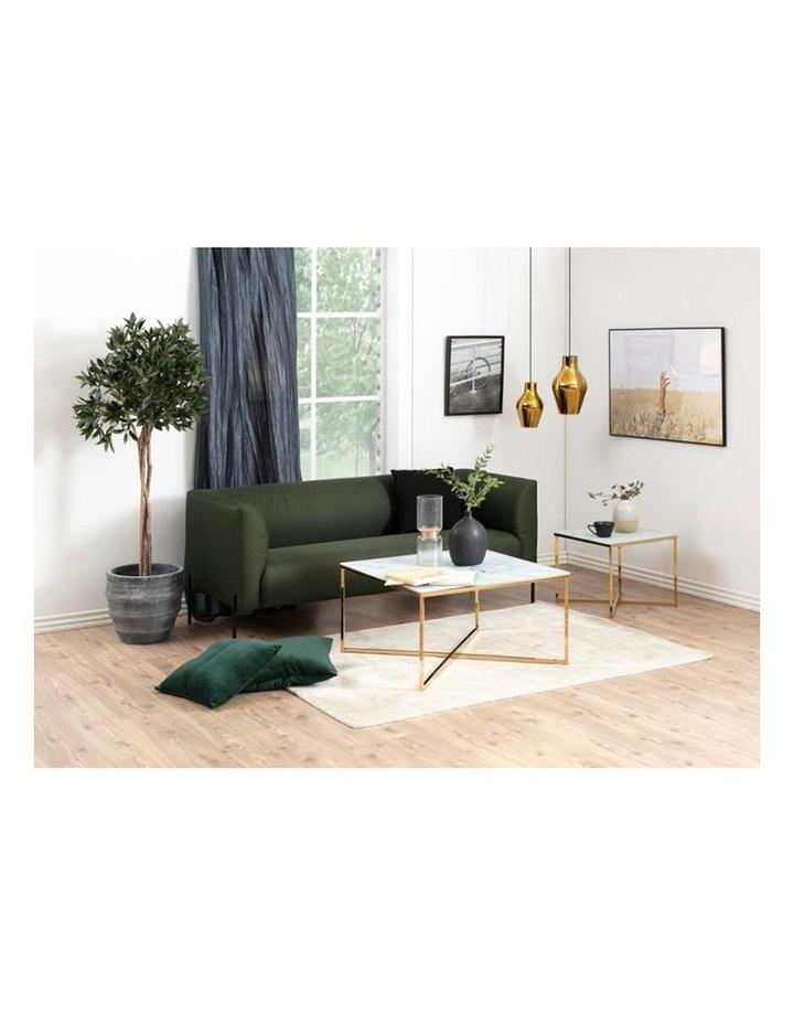 Kolina Glass Coffee Table 80cm - White & Golden Chrome image 2