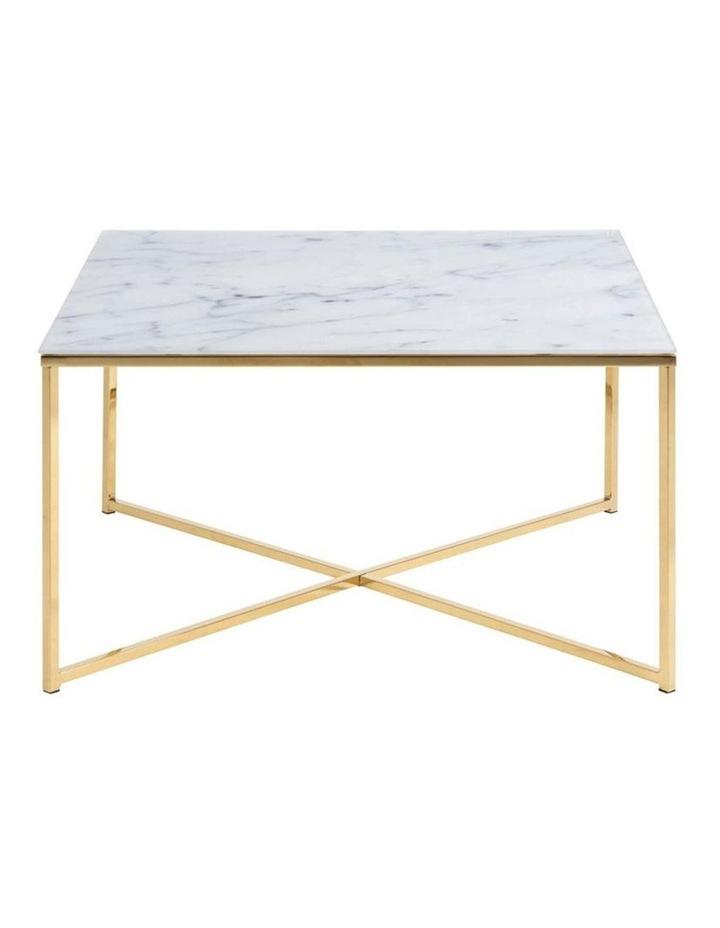 Kolina Glass Coffee Table 80cm - White & Golden Chrome image 3