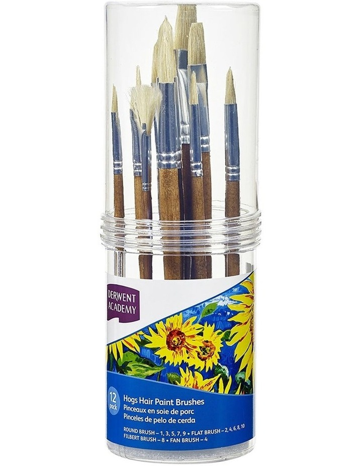 12pc Derwent Academy Hogs Hair Paint Brushes - Small image 1