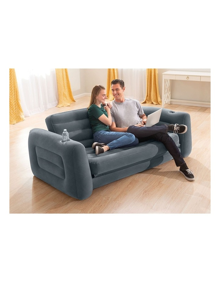 203 x 224 x 66 cm Inflatable Sofa Pull Out Bed Grey image 3