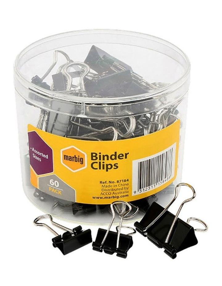 60PC Marbig Fold Back/Binder Clips - Assorted Sizes image 1