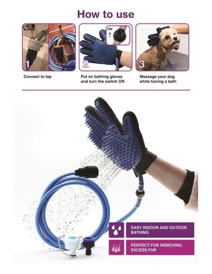 2 in 1 Pet Bathing Massage Glove - Spray & Brush image 3