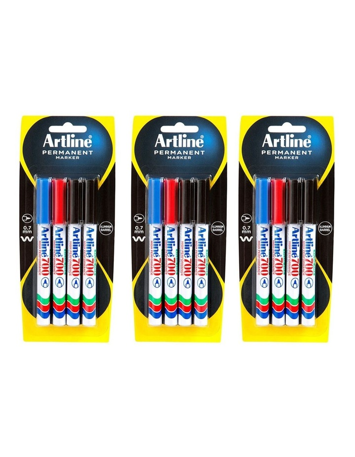 4pc 700 0.7mm Permanent Marker Assorted image 1
