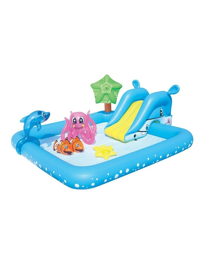 Kids Interactive Water Blow-up Play Pool Hippo Slide image 1