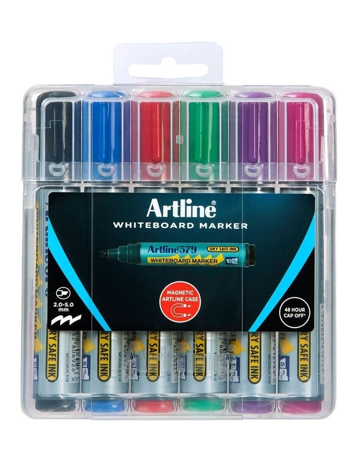 6pc 579 Wboard Markers Assorted Colours image 1