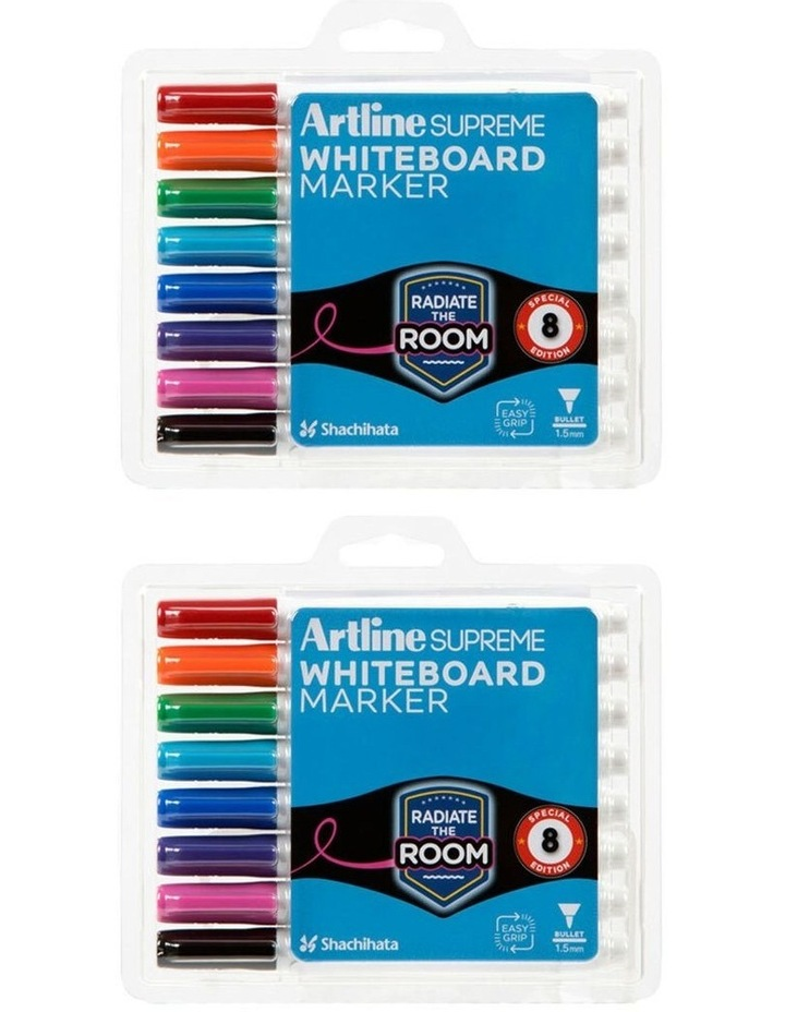 8pc  Supreme Whiteboard Markers - Assorted image 2