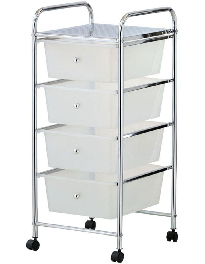 Portable 4 Drawers Storage Roller Trolley Home/Office Organiser - Clear/Chrome image 1