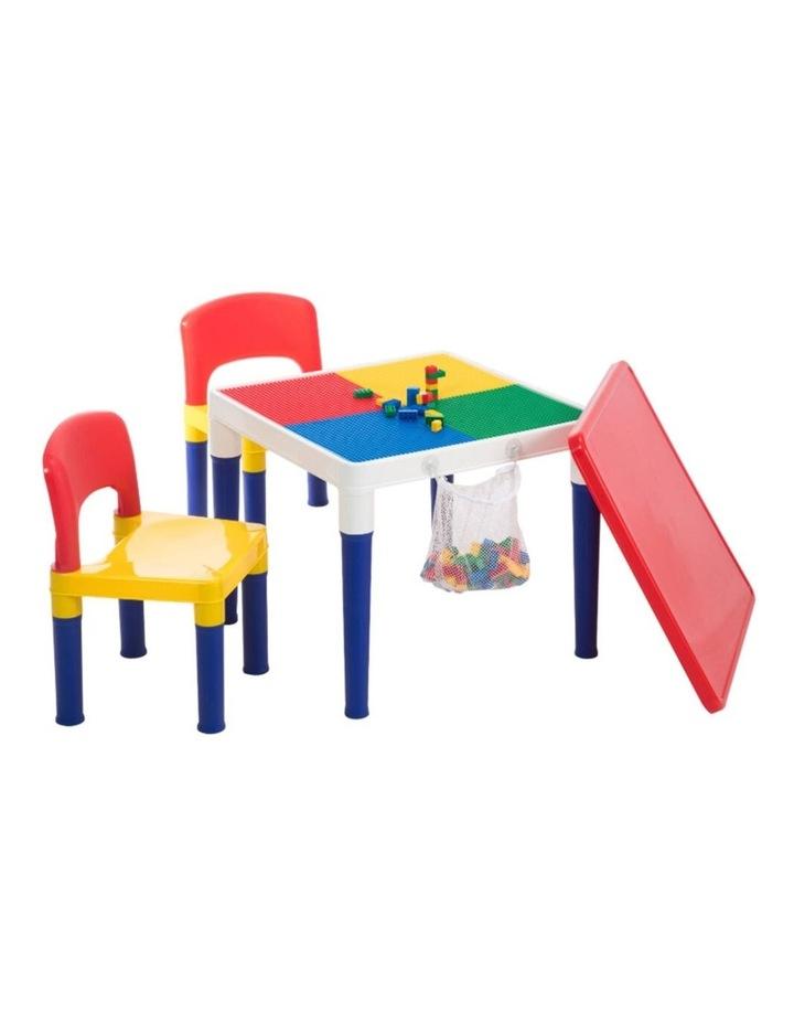 Kids Table & 2 Chairs Plastic Set w/ 100pc Building Block image 1