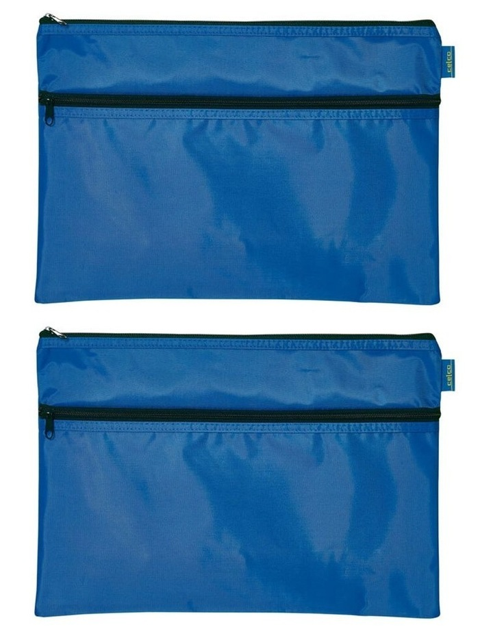 Celco Nylon 2 Zipper Pencil Case Large - Blue image 3