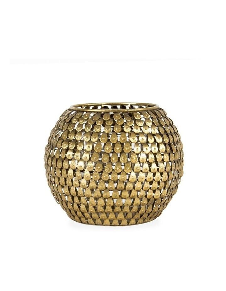 Aura 17cm Metal Teardrop Decoration Candle Holder/Storage Container Decor Gold image 1