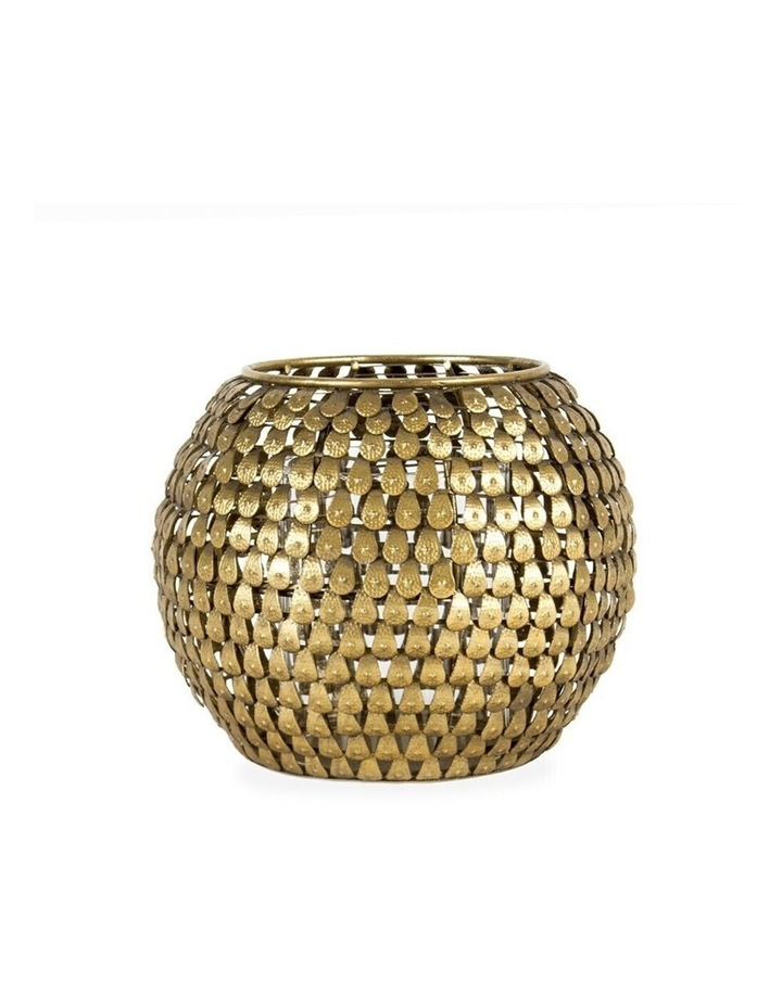 Aura 17cm Metal Teardrop Decoration Candle Holder/Storage Container Decor Gold image 2
