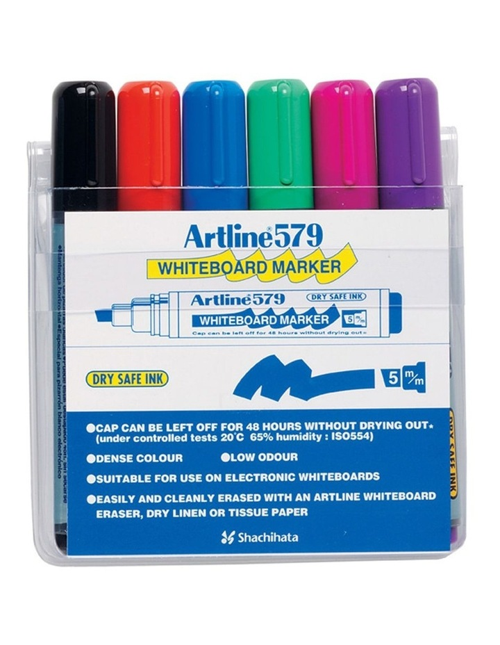 6 Pack 579 5mm Chisel Nib Office Whiteboard Marker Assorted Colours Wallet image 1