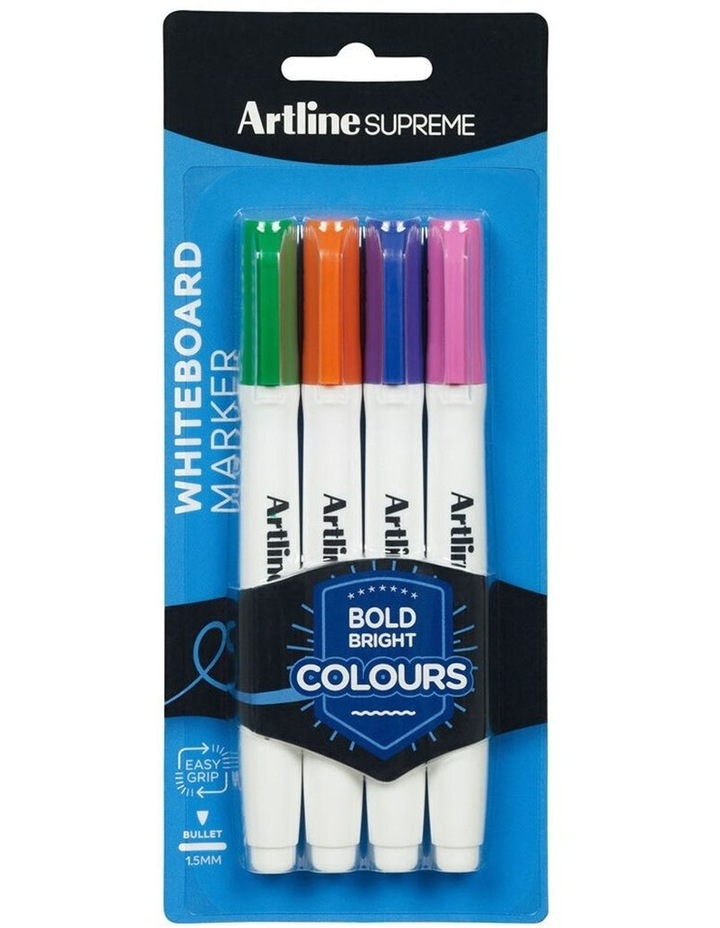 4pc Supreme Whiteboard Markers Water Based Pens Assorted Bright Colours image 1