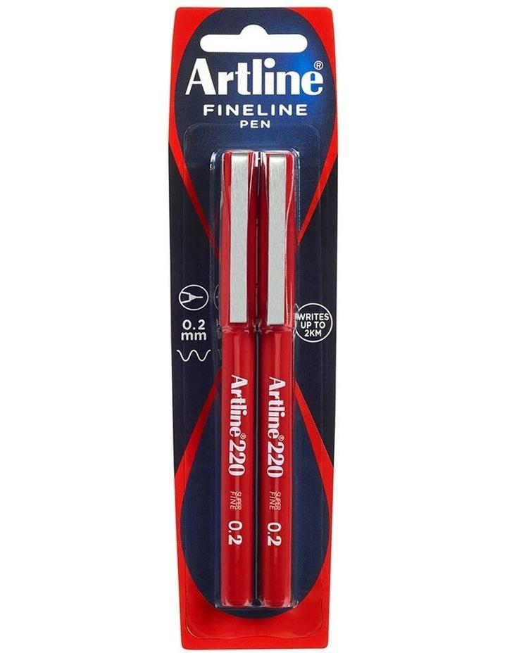 2pc Fineline 220 Super Fine 0.2mm Line School Drawing Writing Pen Red image 1