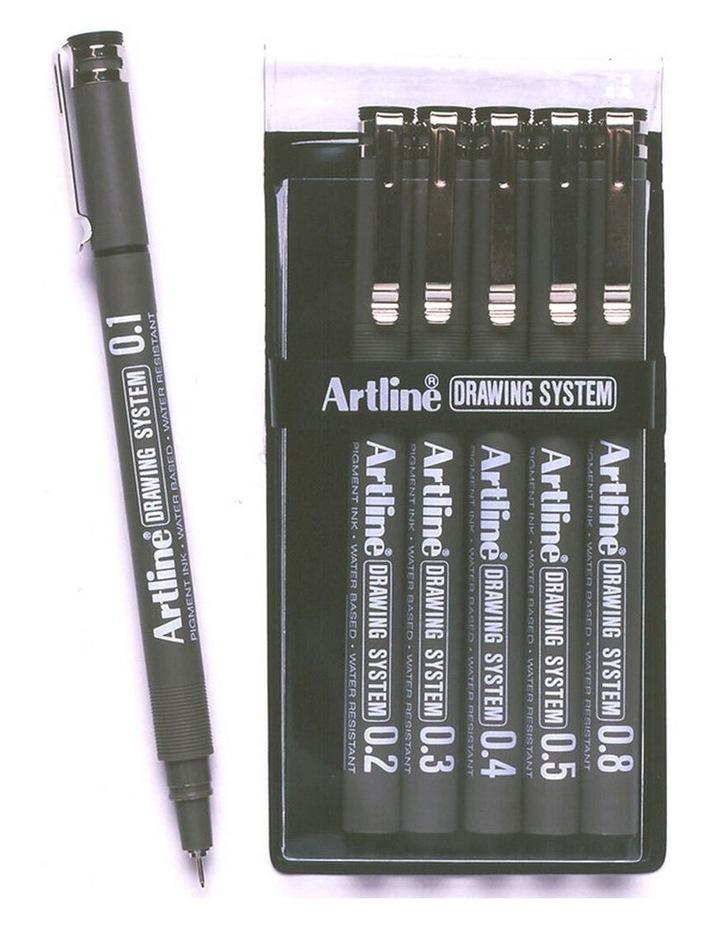 6pc Drawing System 6 Nib Sizes 0.1/0.2/0.3/0.4/0.5/0.8 Wallet Pen Black image 1