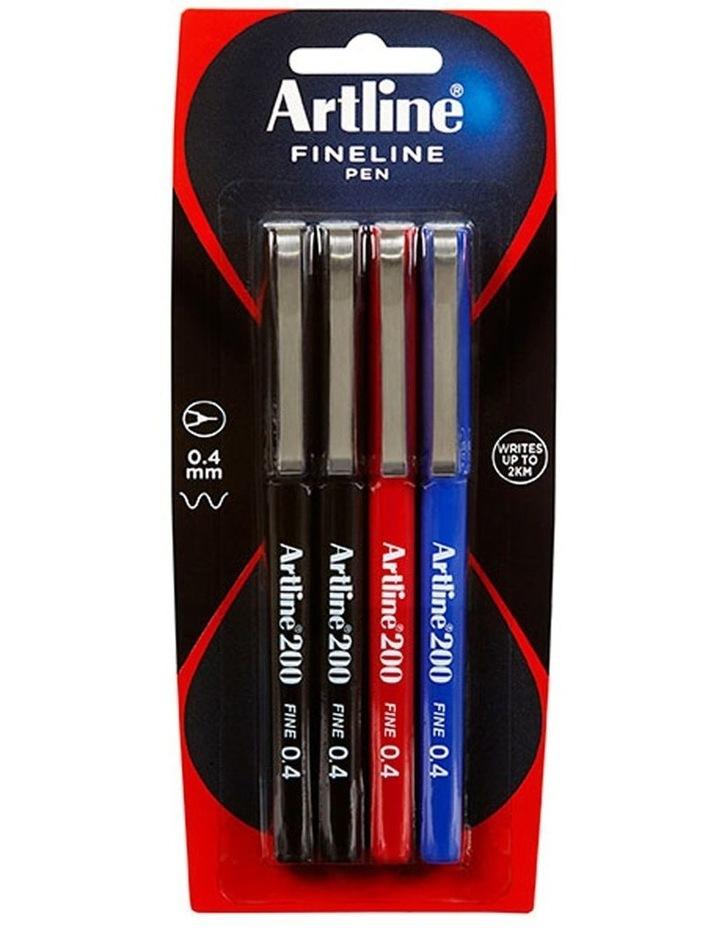 4 Pack Fineline 200 Fine 0.4mm Width School Drawing Assorted Writing Pen image 1