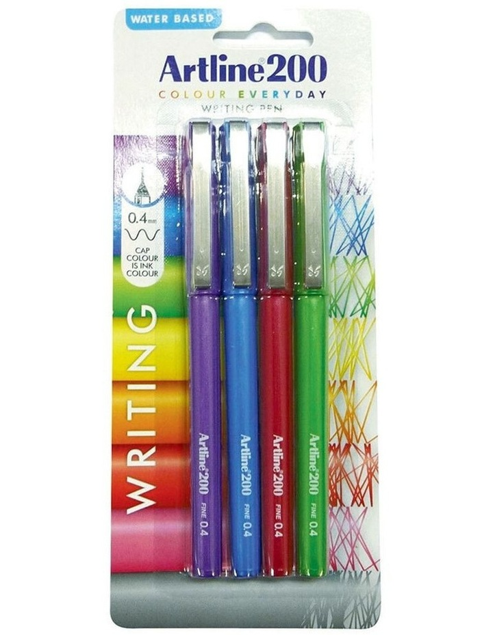 4 Pack 200 Fine 0.4mm School Fineline Drawing/Writing Pen Assorted Colour image 1