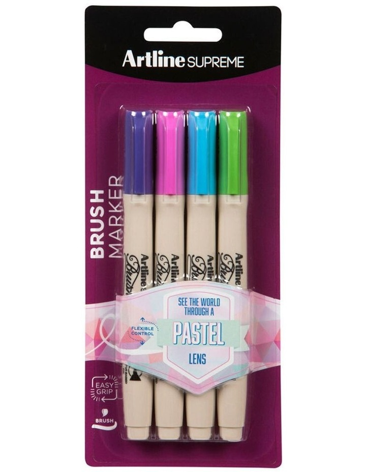 4pc Supreme Brush Markers Art/Crafts School Pen Assorted Pastel Colours image 1