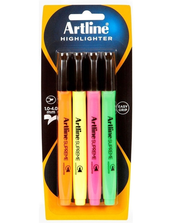 4 Pack Supreme Highlighter Marker Pen Set Art/Craft School Assorted Colours image 1