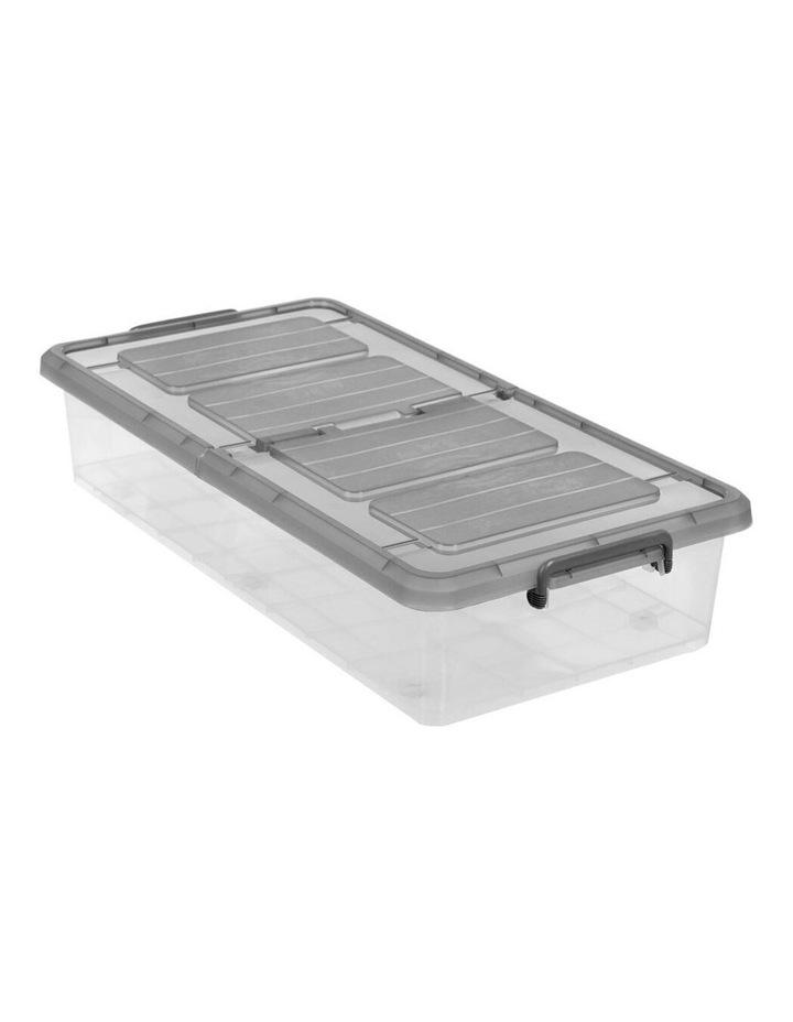 35L Plastic Storage Box Flip Lid Underbed Container Organiser Clear image 1