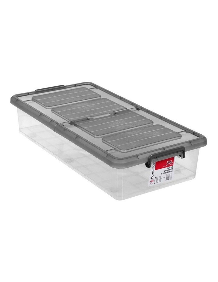 35L Plastic Storage Box Flip Lid Underbed Container Organiser Clear image 3